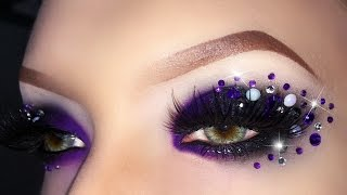 getlinkyoutube.com-Sexy Black & Purple Witch / Evil Queen Makeup Tutorial with Rhinestones using MAKE UP FOR EVER