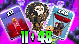 getlinkyoutube.com-Clash Of Clans - ALL SKELETONS SPELLS w/ BALLOONS!! CHALLENGE RAID!! (Troll attack on TH11)