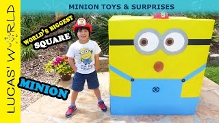getlinkyoutube.com-World's Biggest Square Minion packed with Minions Toys, Mystery Bags & Minion Surprise Egg