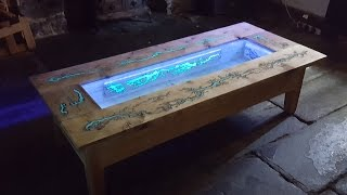 getlinkyoutube.com-DIY Pallet Coffee Table - Glow in the dark wood projects with Lichtenberg Figure