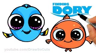 getlinkyoutube.com-How to Draw Baby Dory and Nemo Easy step by step CUTE - Finding Dory Movie