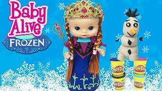 getlinkyoutube.com-Disney Princesa ANNA FROZEN Disney Vestido Massinha PLAY DOH Baby Alive Bia Bagunça | Bela Bagunça