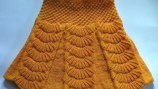 getlinkyoutube.com-Юбка с бантовыми складками. Вязание на спицах.  Skirt with pleats spokes
