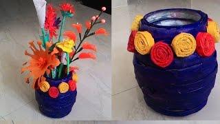 getlinkyoutube.com-How to make newspaper flower vase| Newspaper crafts