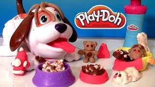 getlinkyoutube.com-Play Doh Puppies Playset With Kibble Kranker | Play Dough Cute Puppy Bacon & Dog Food Funtoys