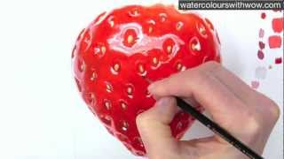 getlinkyoutube.com-How to paint a realistic strawberry in watercolor by Anna Mason