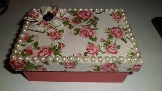 getlinkyoutube.com-Faça você mesmo: Caixinha forrada com tecido e pérolas