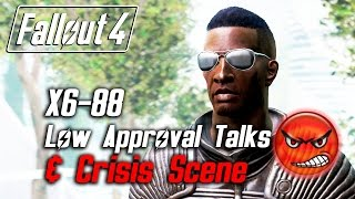 getlinkyoutube.com-Fallout 4 - X6-88 - All Low Approval Talks & Crisis Scene (X6 Leaves Forever)