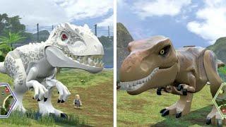 getlinkyoutube.com-LEGO Jurassic World - Indominus Rex Vs. T-Rex (Co-op Dinosaur Fights)