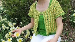getlinkyoutube.com-How to crochet women's short sleeve summer top - two colors crochet pattern