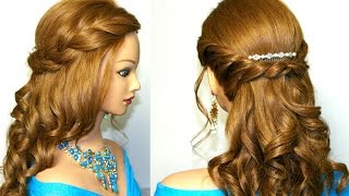 getlinkyoutube.com-Curly romantic prom hairstyle for medium long hair.