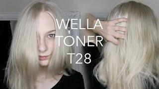 WELLA T28 DEMO - watch me tone my blonde hair