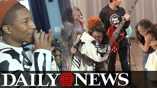 Pharrell Surprises Student Performers at NYC Middle School