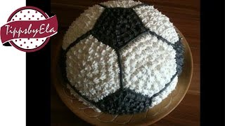 getlinkyoutube.com-How to make a football cake for a birthday party ( soccer ball )