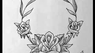 How to Draw Rose flowers Necklace Image
