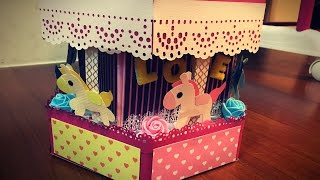 getlinkyoutube.com-樂樂手工創意-🎁 旋轉木馬禮物盒 Carousel Card / Gift Box