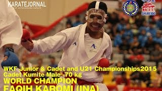 getlinkyoutube.com-WKF2015 Cadet Kumite Male -70 kg World champion FAQIH KAROMI (INA)
