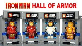 getlinkyoutube.com-LEGO Iron Man Hall Of Armor  KnockOff Building Set Marvel Superheroes