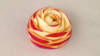 Pink Lady Apple Rose Flower - Beginners Lesson 44 By Mutita Art Of Fruit And Vegetable Carving