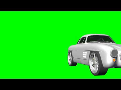 Mercedes 300SL moves - different views - green screen effects