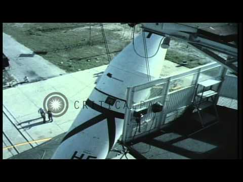 Technicians set up Redstone Missile on launch pad at Cape Canaveral, Florida. HD Stock Footage