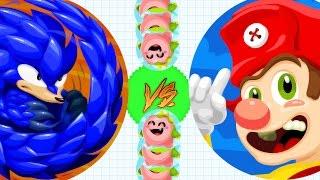 getlinkyoutube.com-Agar.io New Super Mario vs Sonic Skin!? Epic Dominating Agario Mobile Gameplay!