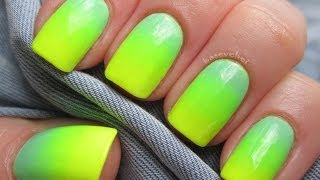 getlinkyoutube.com-Pastel mint and neon yellow - Ombre nails - Zółty neon i pastelowa mięta - Basevehei