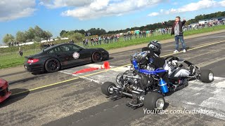 getlinkyoutube.com-230HP Super Kart vs. 1300HP Porsche 9ff vs. 1088HP AUDI S4