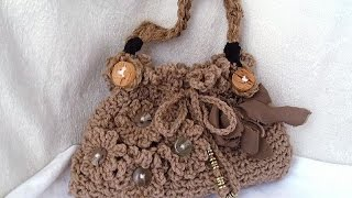 getlinkyoutube.com-DIY CROCHET PURSE, frilly, stylish crochet handbag or shoulderbag, and line a bag,