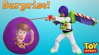 getlinkyoutube.com-Disney Toy Story Super Giant Surprise Egg Toys Unboxing Buzz Lightyear Woody Jessie Ckn Toys