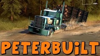 getlinkyoutube.com-Spin Tires | Peterbuilt Logging Truck With Trailer vs The Towing Challenge