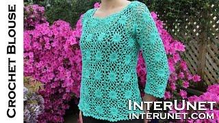 getlinkyoutube.com-How to crochet a women's square motif lace blouse
