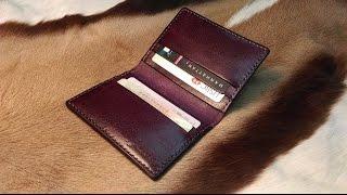 getlinkyoutube.com-Sole Craft-Leather Craft: 6 cards wallet (皮革教學)