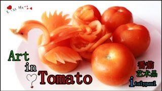 getlinkyoutube.com-Art In Tomato Swan - Vegetable Carvings into Swan