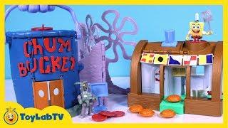 getlinkyoutube.com-SpongeBob Krusty Krab Chum Bucket Launcher Playset from Imaginext with SpongeBob & Plankton Toys