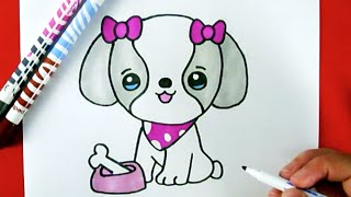 getlinkyoutube.com-How to Draw A CUTE PUPPY EASY  - Como Dibujar un PERRITO KAWAII