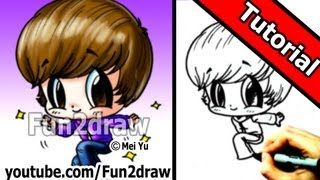 getlinkyoutube.com-Justin Bieber Chibi Cartoon Drawing - Tutorial