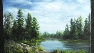 getlinkyoutube.com-Oil Painting | Forest lake | Paint with Kevin Hill