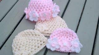 getlinkyoutube.com-crochet puff stitch baby cap {video response} | Haylees Hats