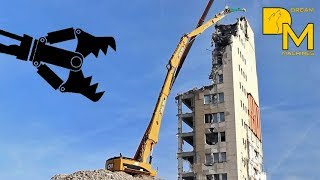 getlinkyoutube.com-CATERPILLAR 385C HIGH REACH DEMOLITION EXCAVATOR RIPPING DOWN BUILDING