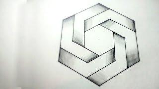 getlinkyoutube.com-How To Draw Optical Illusions - Hexagon | DearingDraws