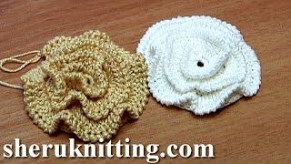 getlinkyoutube.com-Crochet Ruche Petal Flower Made On Plate Tutorial 16 Part 1 of 2 tığ işi Mor çiçek yapımı