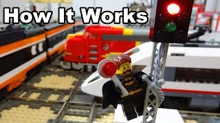 Lego train rail crossing automated by Arduino How It Works