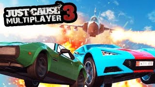 getlinkyoutube.com-JUST CAUSE 3 MULTIPLAYER - 1 FIGHTER JET VS 2 CARS (DRIVE OFF THE CLIFF CHALLENGE)