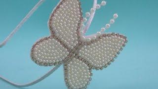 getlinkyoutube.com-Faça você mesma: tiara com borboleta em pérolas