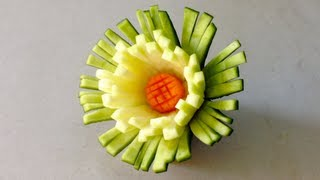 getlinkyoutube.com-Cactus Chrysanthemum Zucchini Flower - Lessons 43 By Mutita Thai Art In Fruit And Vegetable Carving