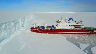 Icebreaker Agulhas at the Antarctica Iceshelf