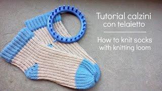 getlinkyoutube.com-Tutorial calzino con telaietto | How to knit socks with knitting loom