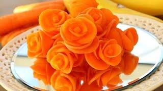 getlinkyoutube.com-How to Make Carrot Flowers - Vegetable Carving Garnish - Sushi Garnish - Food Decoration