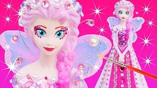 getlinkyoutube.com-FROZEN ELSA PINKIE PEARL FAIRY PRINCESS DRESS Paint Your Own Makeover Glitter Doll Bank How To